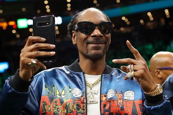 Snoop Dogg courtside at the game between the Boston Celtics and the Los Angeles Lakers at TD Garden on January 20, 2020.   Source: Getty Images