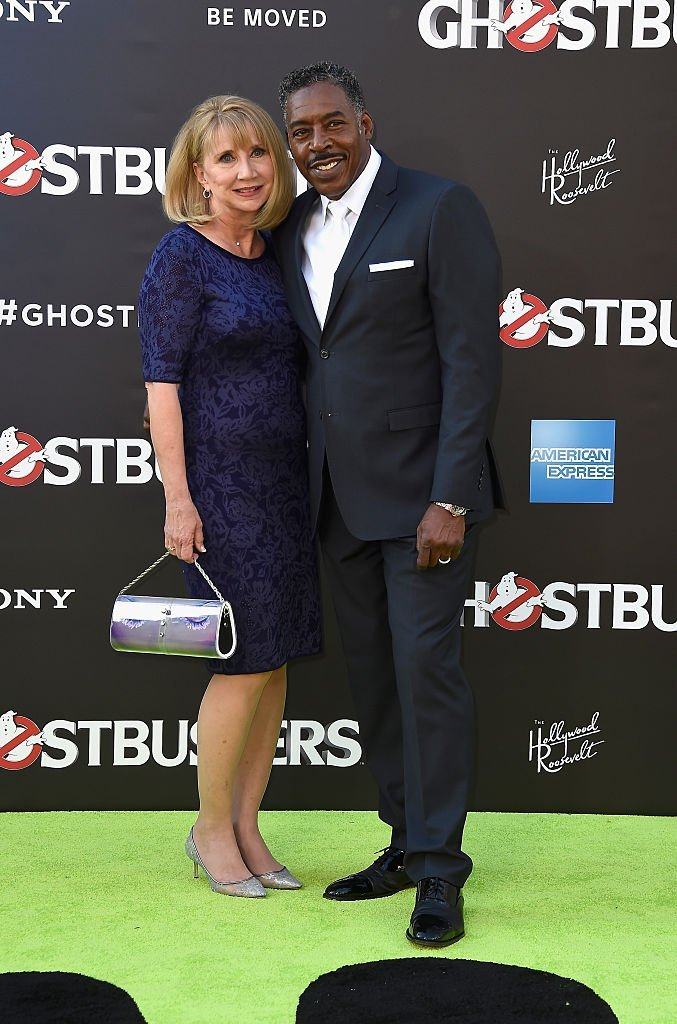 "Ernie Hudson and Linda Kingsberg at the Premiere of Sony Pictures' ""Ghostbusters"" at TCL Chinese Theatre on July 9, 2016. 