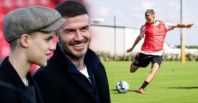 David Beckham and son Romeo Beckham inspect the pitch prior to the Vanarama National League match between Salford City and Dover Athletic at Peninsula Stadium on February 16, 2019 in Salford, England, the next image shows a solo shot of Romeo during training   Photo: Getty Images