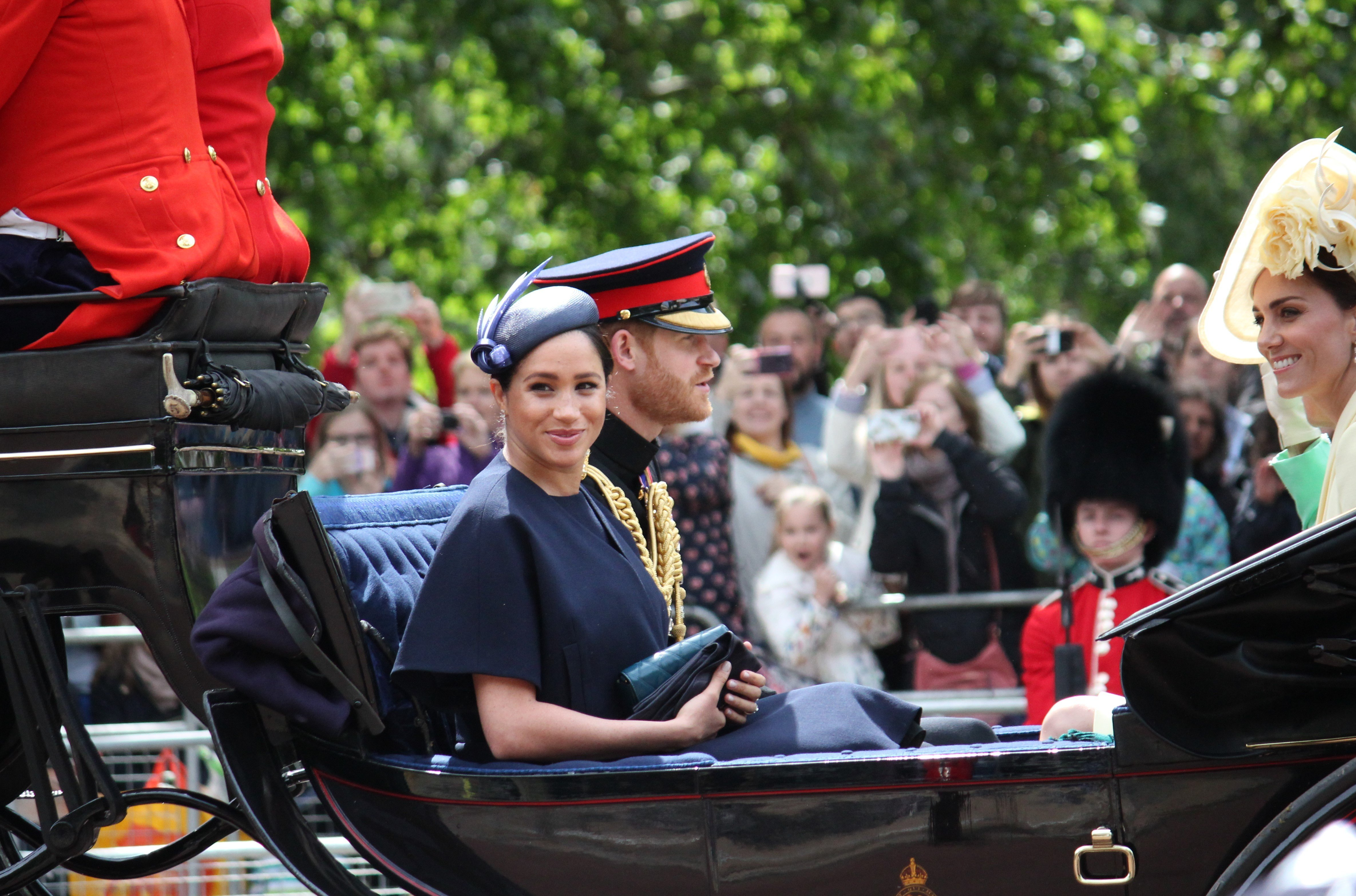 Meghan Markle, Prince Harry, and Kate Middleton arrive at Trooping the Color in June 2019 | Photo: Getty Images
