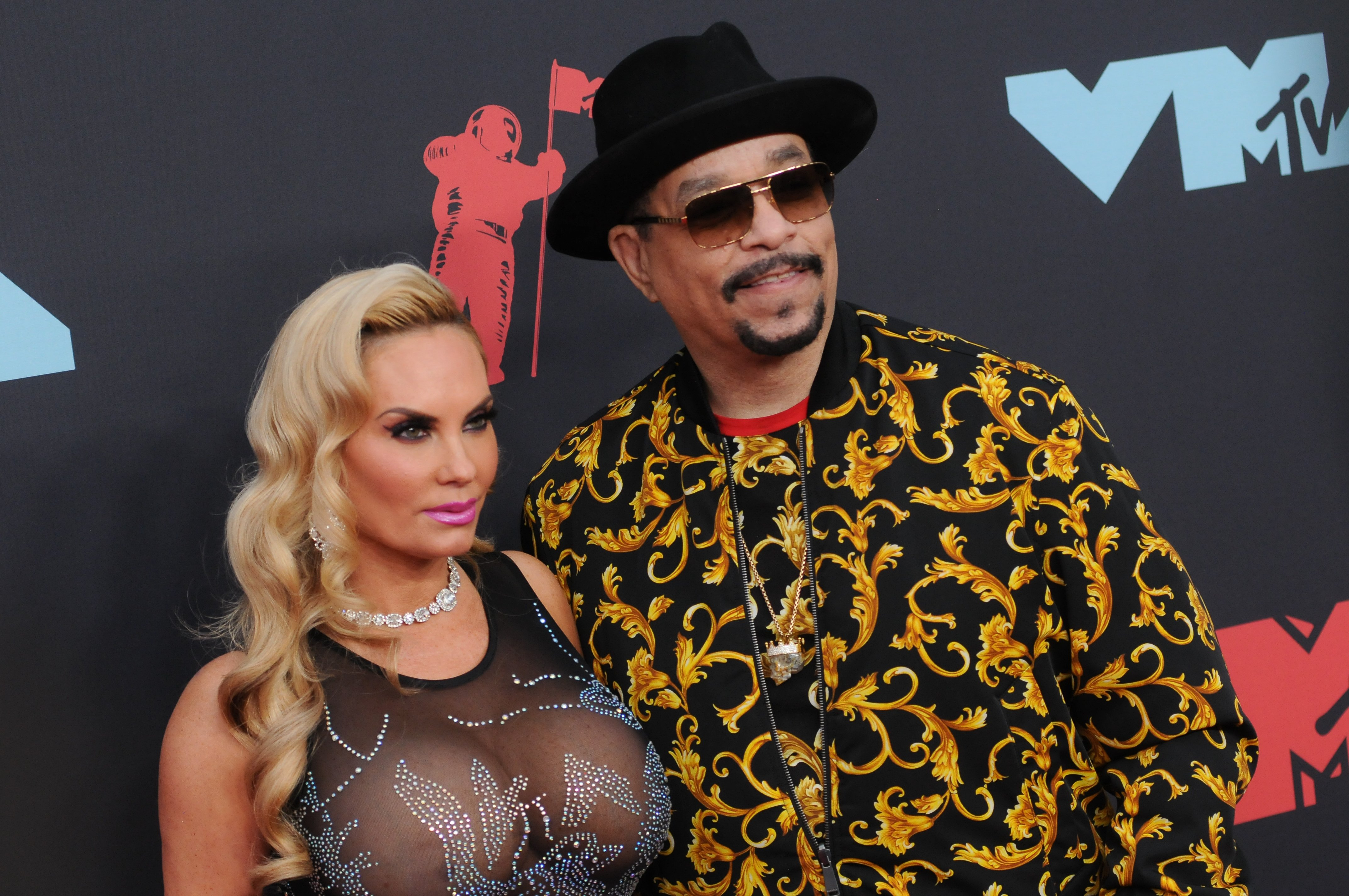 Coco Austin and Ice-T pose at the 2019 MTV Video Music Video Awards held at the Prudential Center in Newark, NJ.   Source: Getty Images