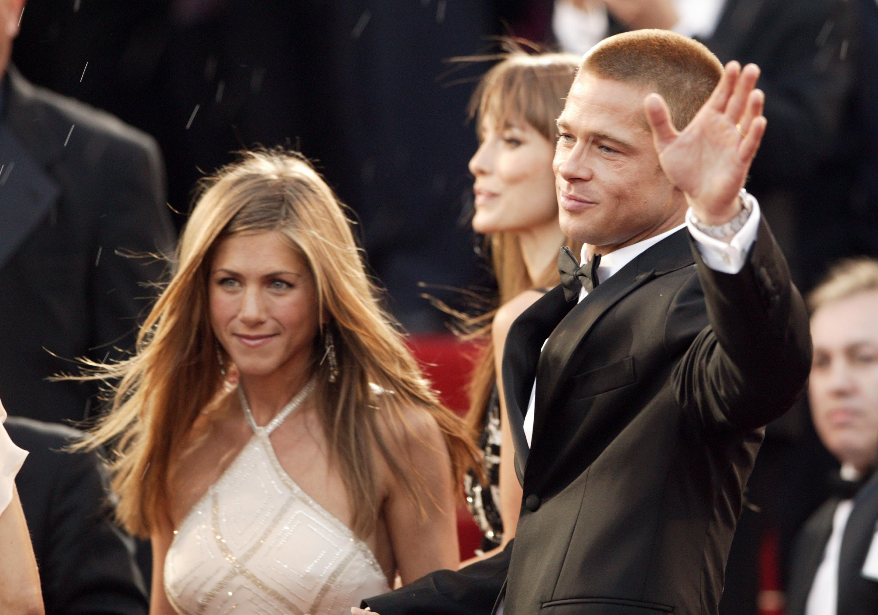 "Brad Pitt and Jennifer Aniston attend the World Premiere of epic movie ""Troy"" at Le Palais de Festival on May 13, 2004 in Cannes, France. 