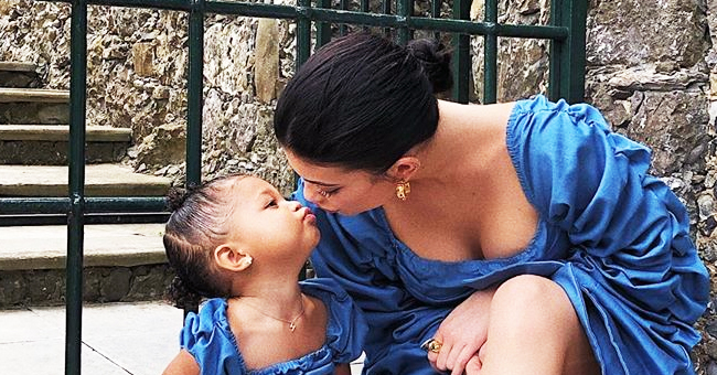 Kylie Jenner and Daughter Stormi Twin in Blue Mini Dresses (Photo)