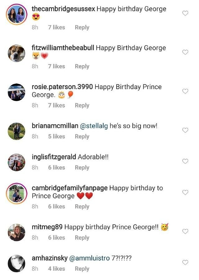Royal fans comment on Prince George's photo ahead of his seventh birthday on July 22, 2020 | Photo: Instagram/kensingtonroyal