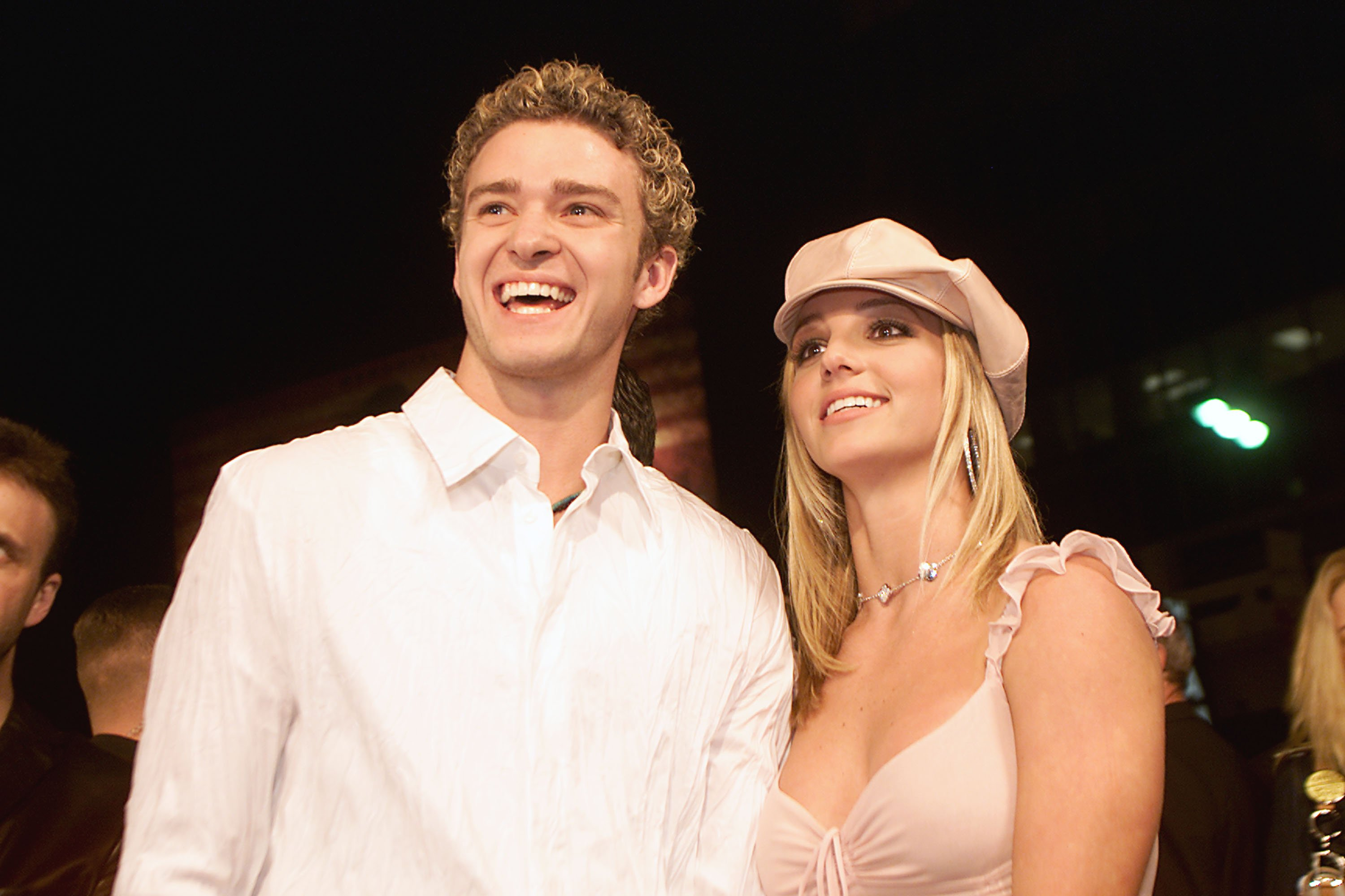 """ustin Timberlake during the 2002 premiere of Britney Spears' movie """"Crossroads"""" in California. 