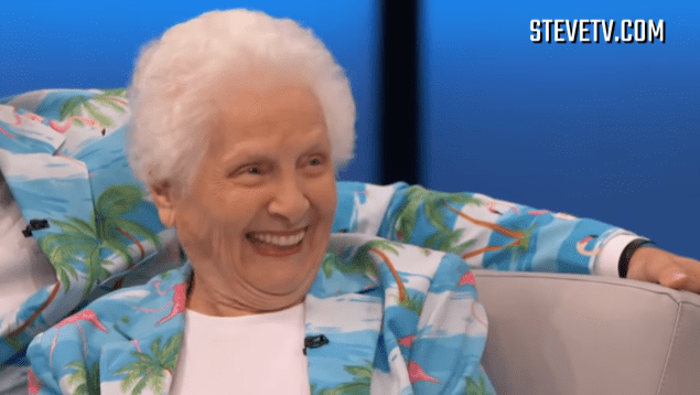 """Pauline """"Granny"""" Kana during an interview with Steve Harvey in his show 
