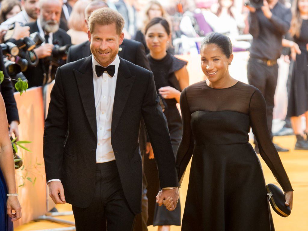"Prince Harry, Duke of Sussex and Meghan, Duchess of Sussex attend ""The Lion King"" European Premiere at Leicester Square on July 14, 2019 in London, England. 
