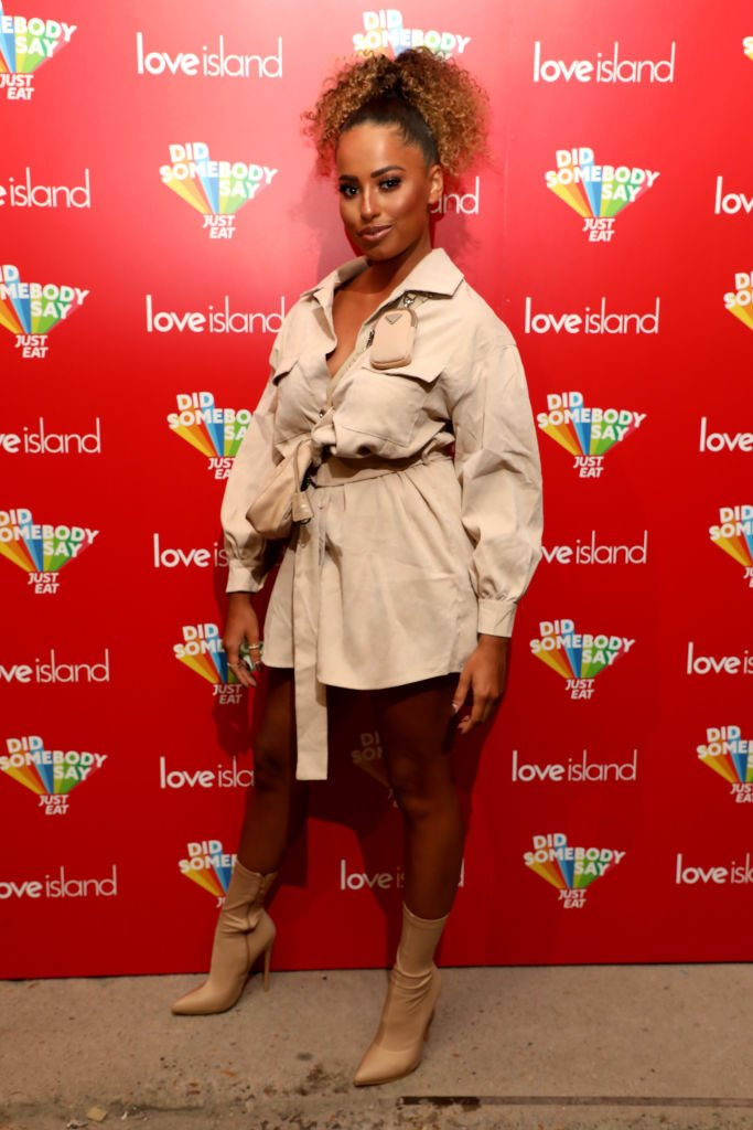 """Amber Gill attends the """"Just Eat Ultimate Love Island Date Night"""" event at Night Tales on February 10, 2020 in Hackney, London, England. 