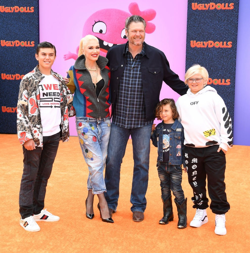"Kingston Rossdale, Gwen Stefani, Blake Shelton, Apollo Bowie Flynn Rossdale, and Zuma Rossdale arrive at the premiere Of ""UglyDolls"" on April 27, 2019, in Los Angeles, California. 