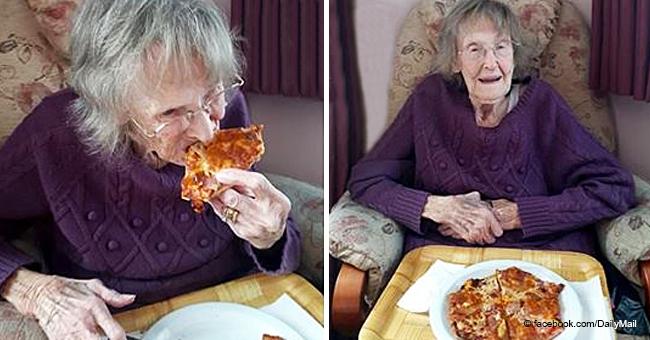 Une dame de 94 ans, goûte la pizza pour la première fois comme elle a juré à son défunt mari de ne jamais le faire
