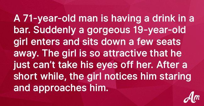 Gorgeous 19-Year-Old Girl Approaches an Old Man in a Bar