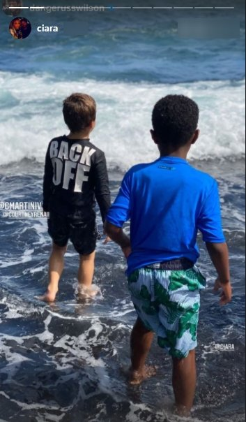Screenshot of photo of Future Zahir Wilburn playing with a friend in the ocean in Hawaii. | Source: Instagram/ciara