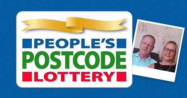 A People's Postcode Lottery sign with a picture of Debby and Graham Gardiner. | Source: twitter.com/PPLComms