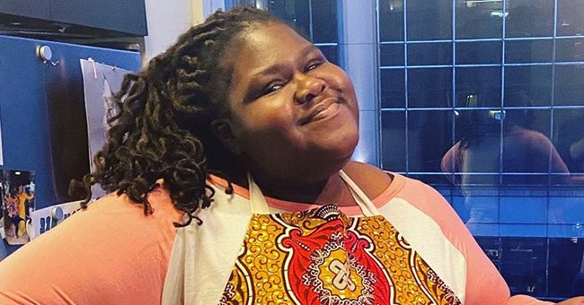 Gabby Sidibe Wears Mickey Mouse Leggings While Walking in Disneyland with Her Fiancé Brandon