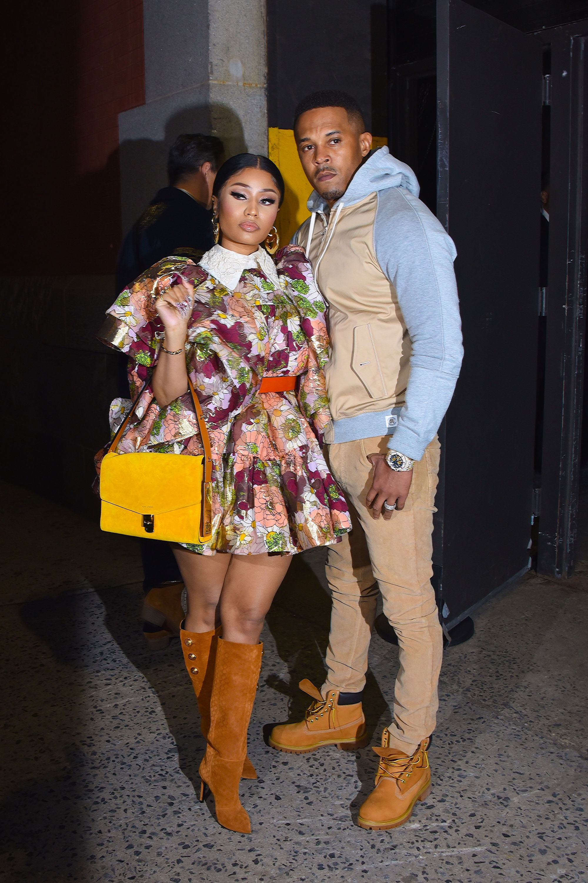 Nicki Minaj and husband Kenneth Petty seen at a Marc Jacobs NYFW event in Manhattan on February 12, 2020, in New York City | Photo: Robert Kamau/GC Images/Getty Images