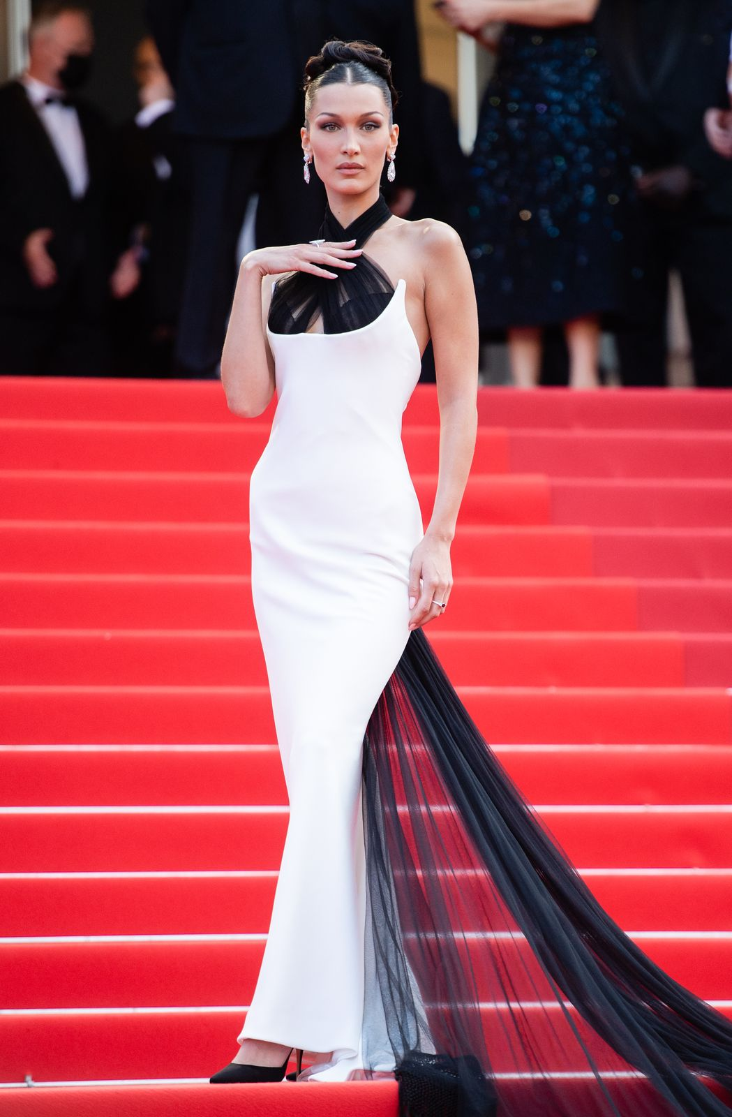 """Bella Hadid at the """"Annette"""" screening and opening ceremony during the 74th annual Cannes Film Festival on July 6, 2021, in Cannes, France   Photo:Samir Hussein/WireImage/Getty Images"""