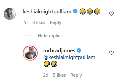 Keshia Pulliam and Brad's comments in reaction to Brad's net worth filter video. | Photo: Instagram/Mrbradjames