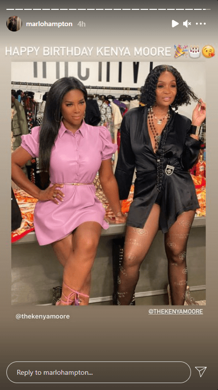 Marlo Hampton's birthday shout out to Kenya Moore on Instagram Story. | Photo: instagram.com/marlohampton
