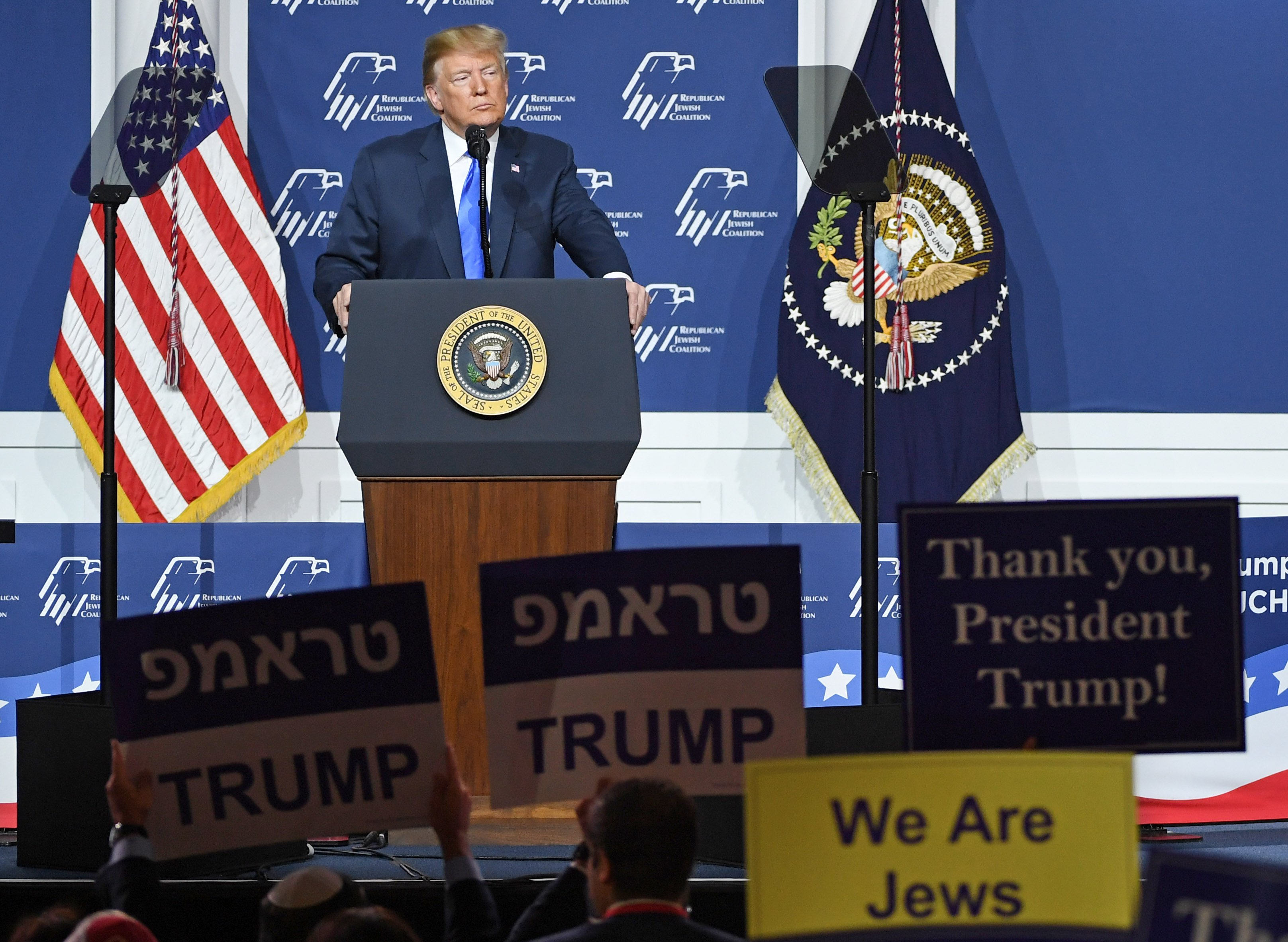 Donald Trump delivering a speech at the resident Donald Trump speaks during the Republican Jewish Coalition's annual meeting at The Venetian Las Vegas | Photo: Getty Images
