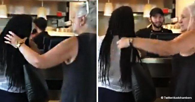 White woman almost caught the fade for touching a Black stranger's hair in viral video