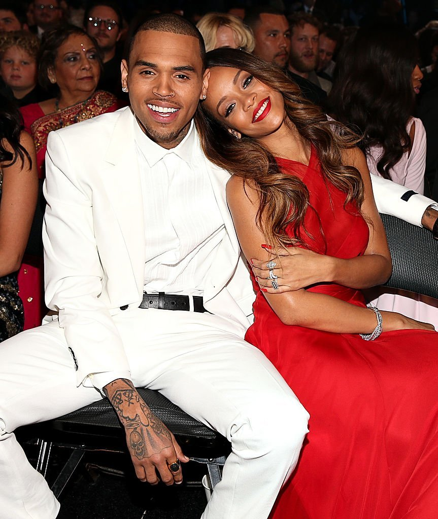 Chris Brown and Rihanna attending the 55th Annual GRAMMY Awards at STAPLES Center on February 10, 2013 in Los Angeles, California. | Source: Getty