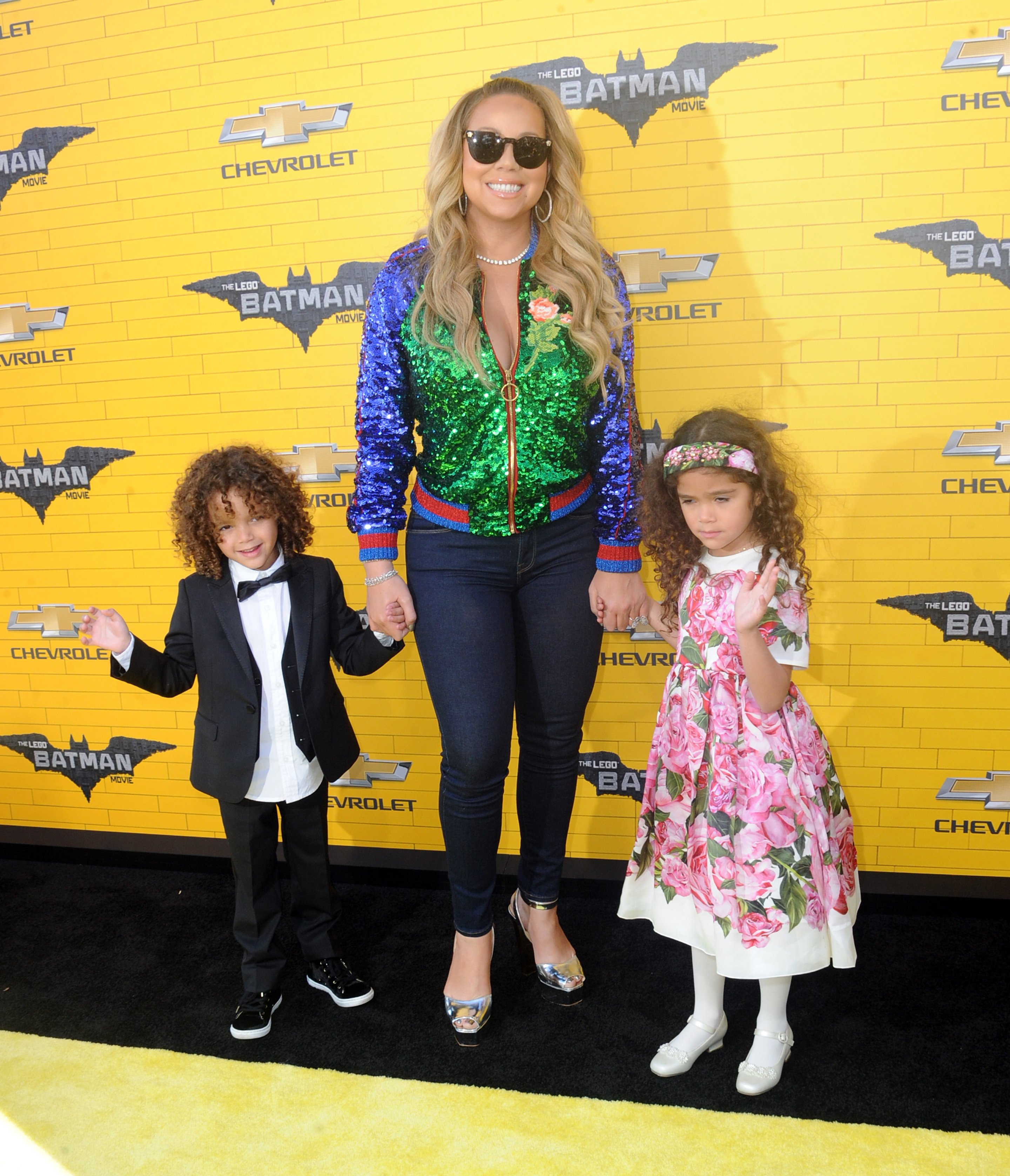 "Mariah Carey and her two children at the premiere of Warner Bros Pictures' ""The Lego Batman Movie"" 