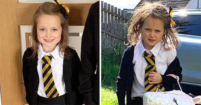 A little girl's before and after photos during the first day of school. | Source:  facebook.com/InspirationalQuotesHub
