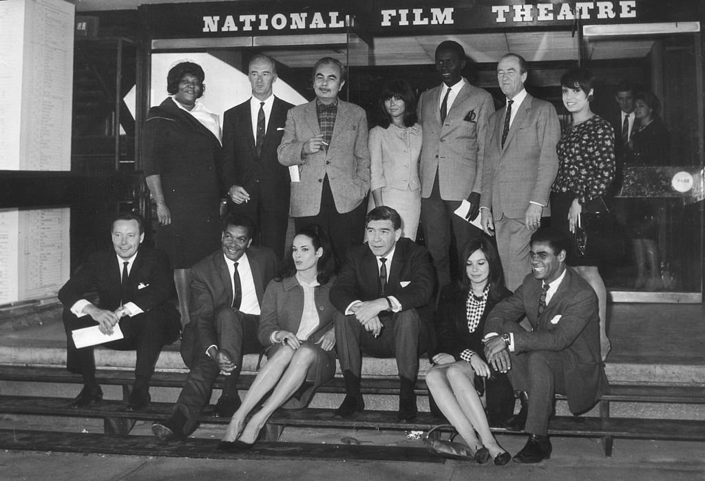 A line-up of international thespians including Johnny Sekka at the National Film Theatre in London, during a press preview of the Commonwealth Film Festival on 12th September 1965. | Photo: Getty Images