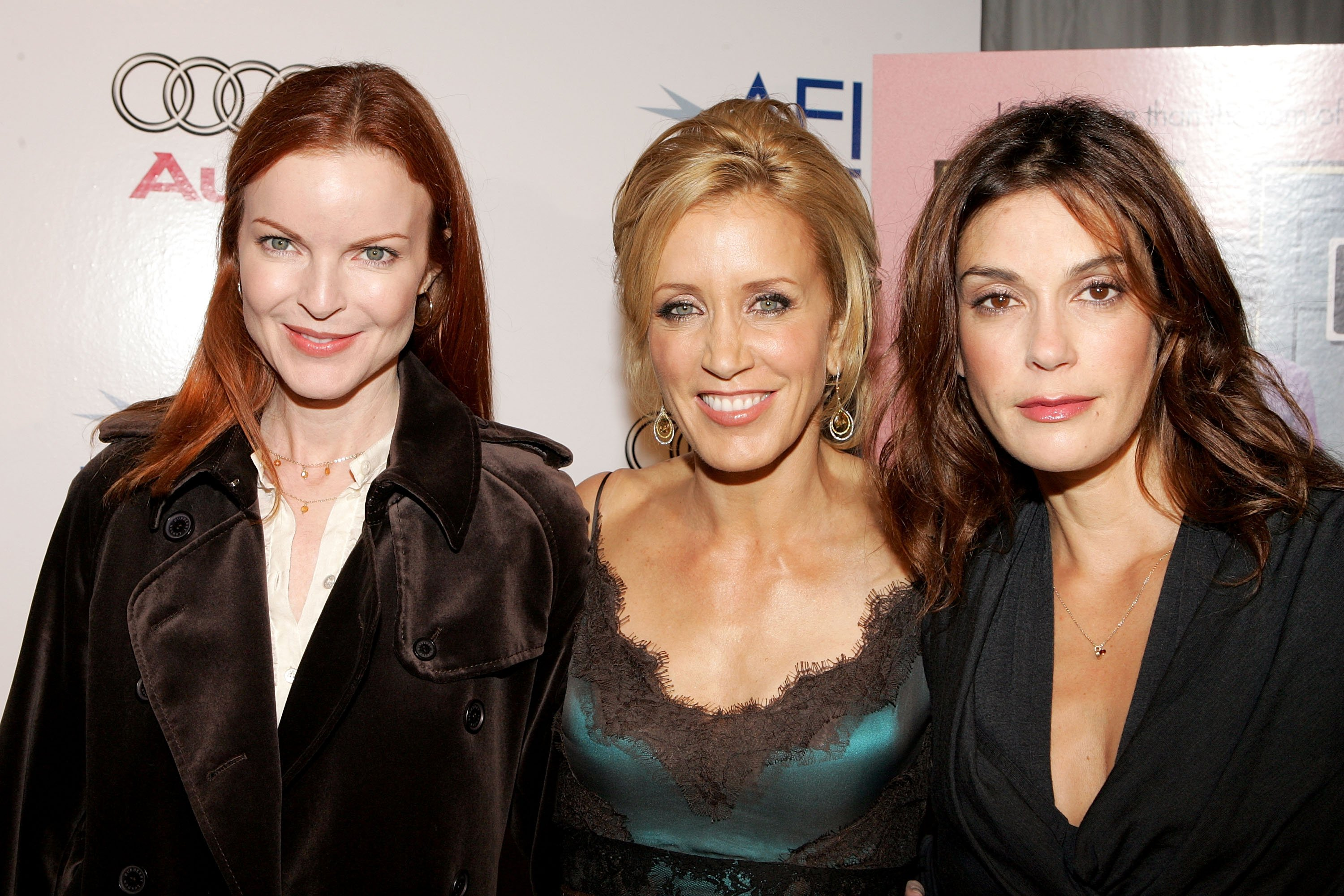 """Marcia Cross, Felicity Huffman and Teri Hatcher arrive to the special screening of the film """"Transamerica"""" during AFI Fest presented by Audi at the ArcLight Theatre November 6, 2005, in Hollywood, California. 