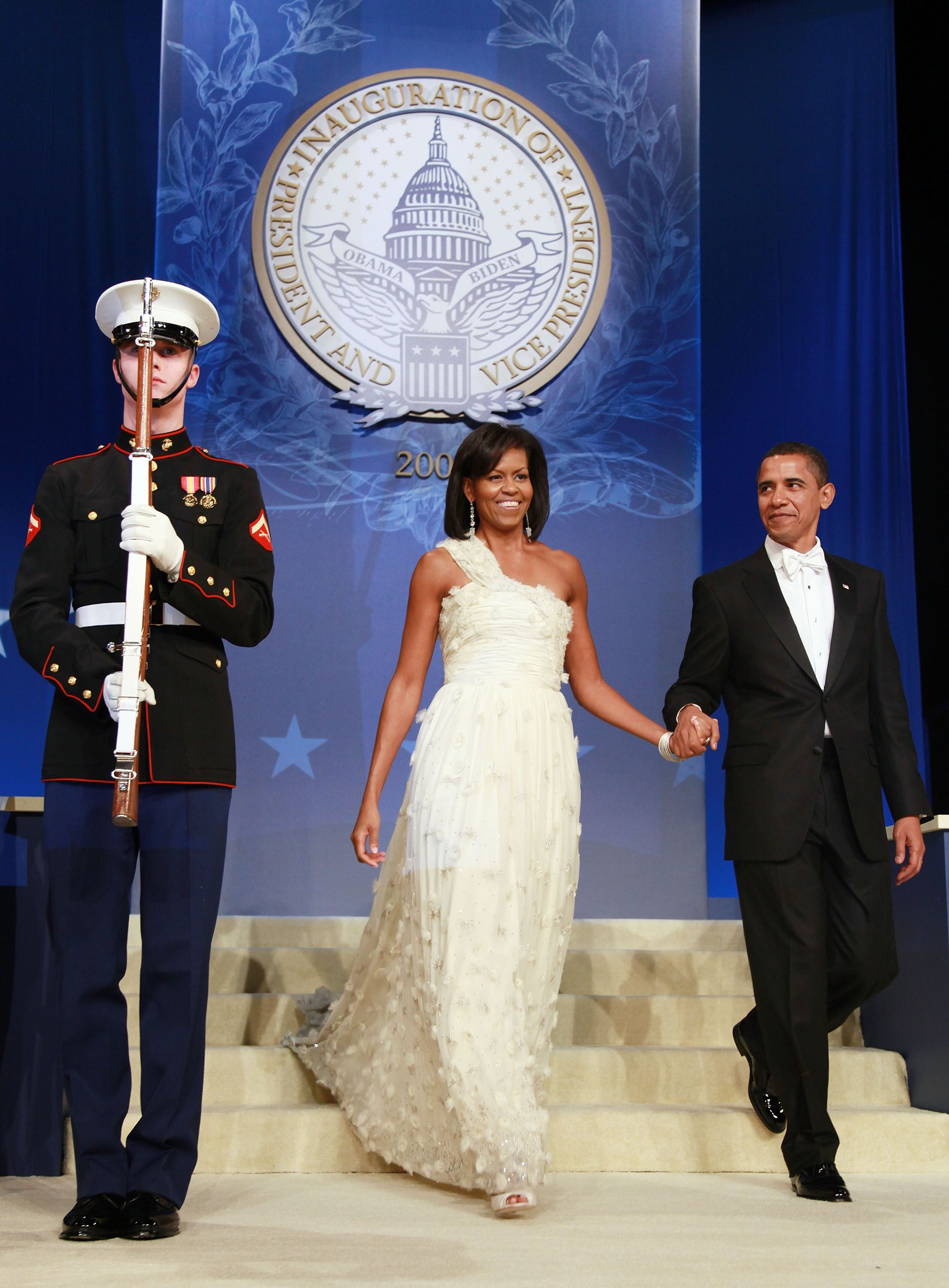 Michelle and Barack Obama at the Inaugural Ball/ Getty Images