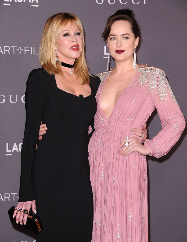 Melanie Griffith and Dakota Johnson attend the 2017 LACMA Art + Film gala at LACMA on November 4, 2017 in Los Angeles, California. | Source: Getty images