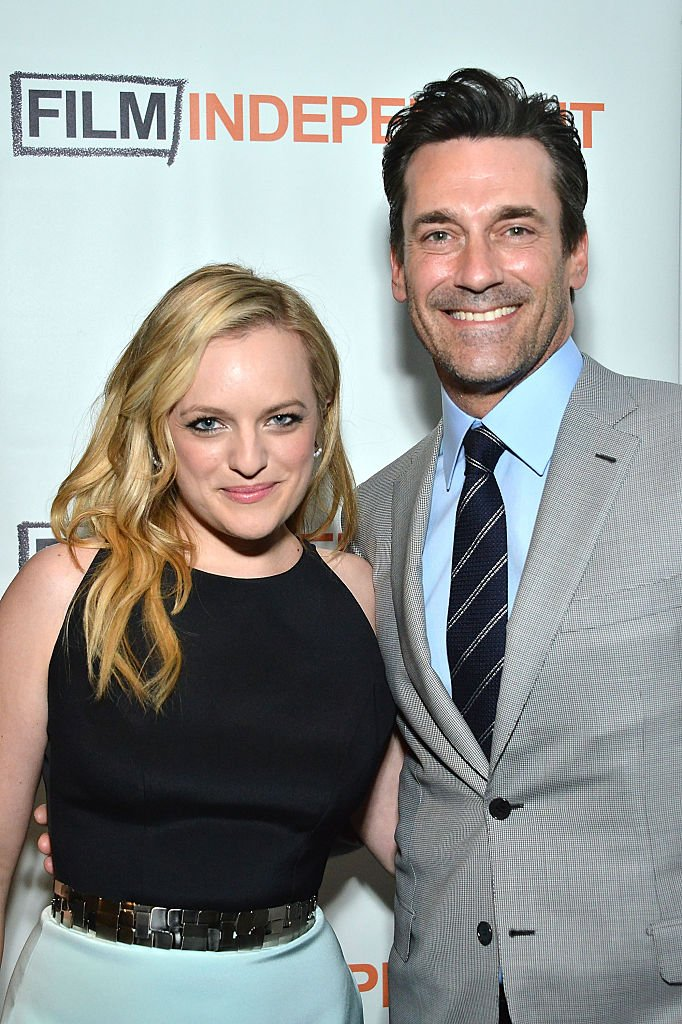 """Elisabeth Moss and Jon Hamm attend the Film Independent Special Screening of """"Mad Men"""" at The Ace Hotel Theater on May 17, 2015 