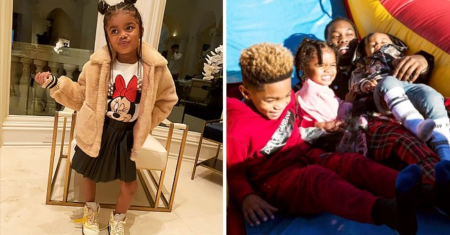 Offset's Daughter Kalea Looks Trendy Posing in a T-Shirt with Mickey Mouse Print and Cool Skirt