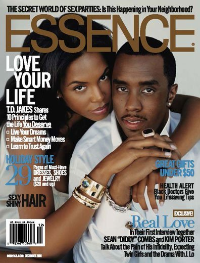 Diddy and Kim Porter/ Source: Cover of Essence Magazine
