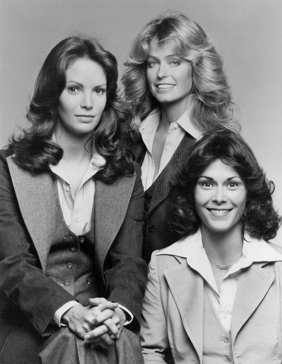 """Charlie's Angeles"" Season one cast (1976–1977): Jaclyn Smith, Farrah Fawcett, and Kate Jackson 