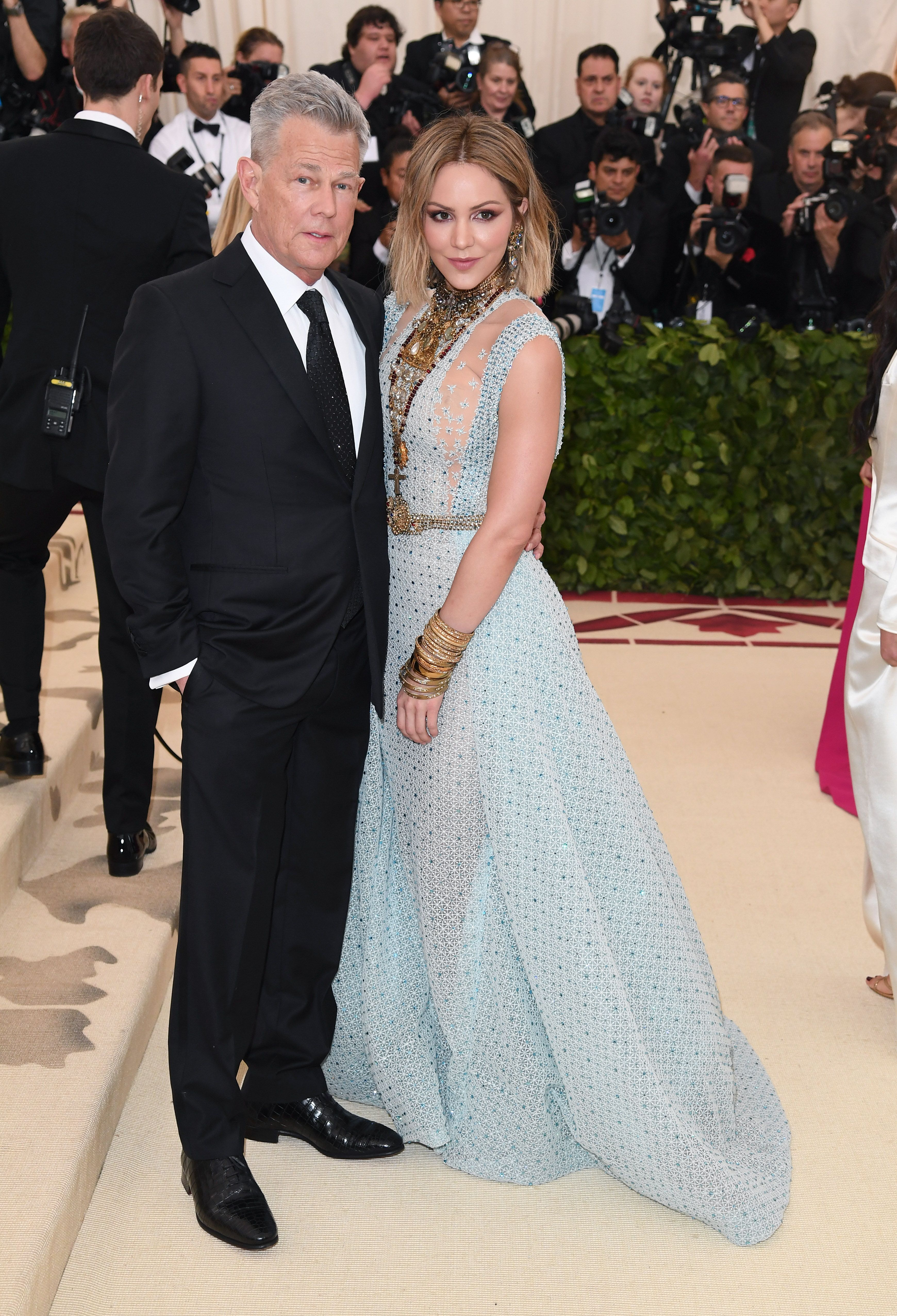 David Foster and Katharine McPhee during the Heavenly Bodies: Fashion & The Catholic Imagination Costume Institute Gala at Metropolitan Museum of Art on May 7, 2018 in New York City. | Source: Getty Images