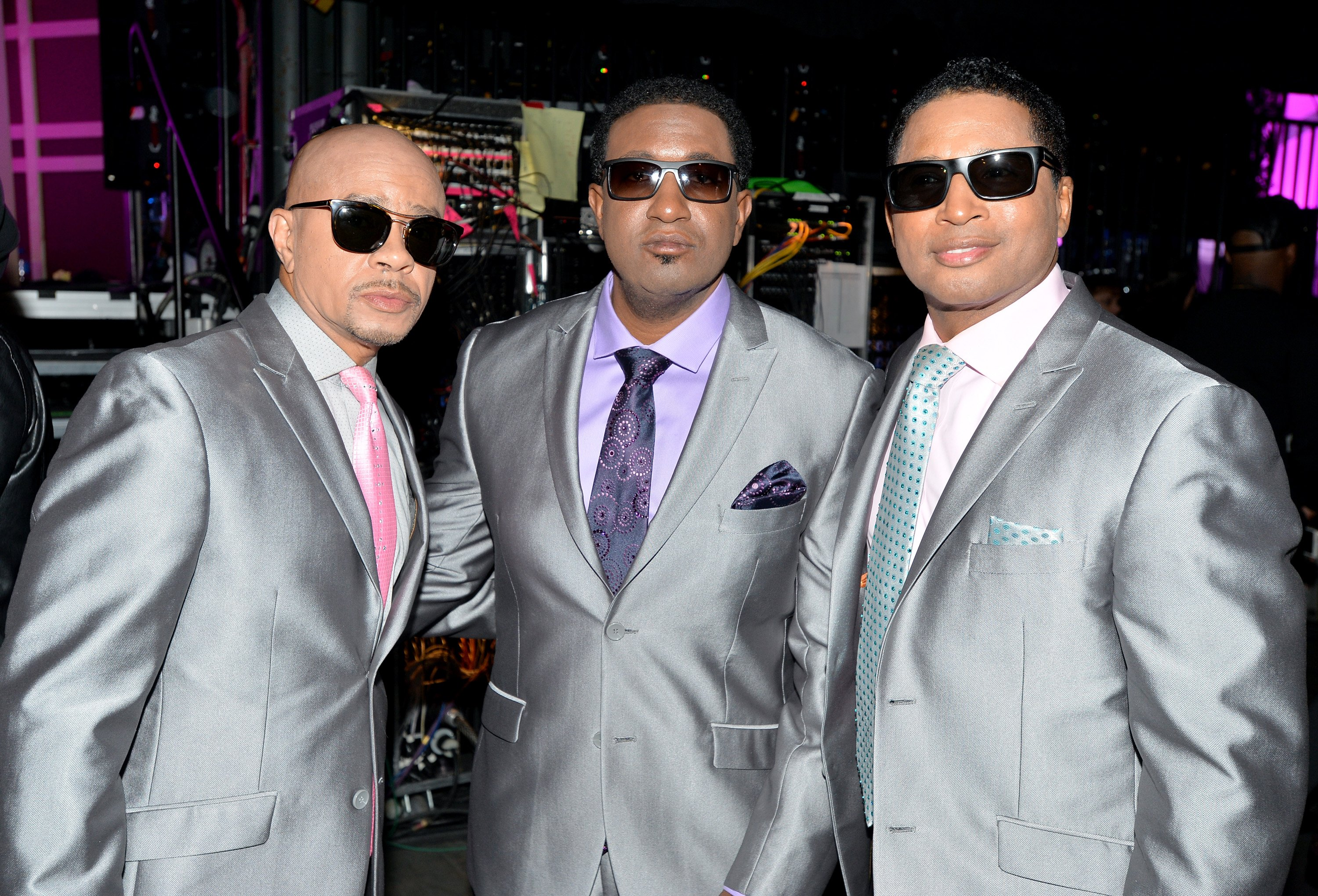 "(L-R) Keith Mitchell, Kevon Edmonds and the now-late Melvin Edmonds of ""After 7"" at the 2015 Soul Train Music Awards in Las Vegas, Nevada on Nov. 6, 2015. 