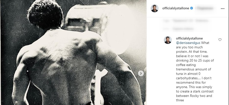 Screenshot of Sylvester Stallone's comment on his Instagram photo. | Source: Instagram/OfficialSlyStallone