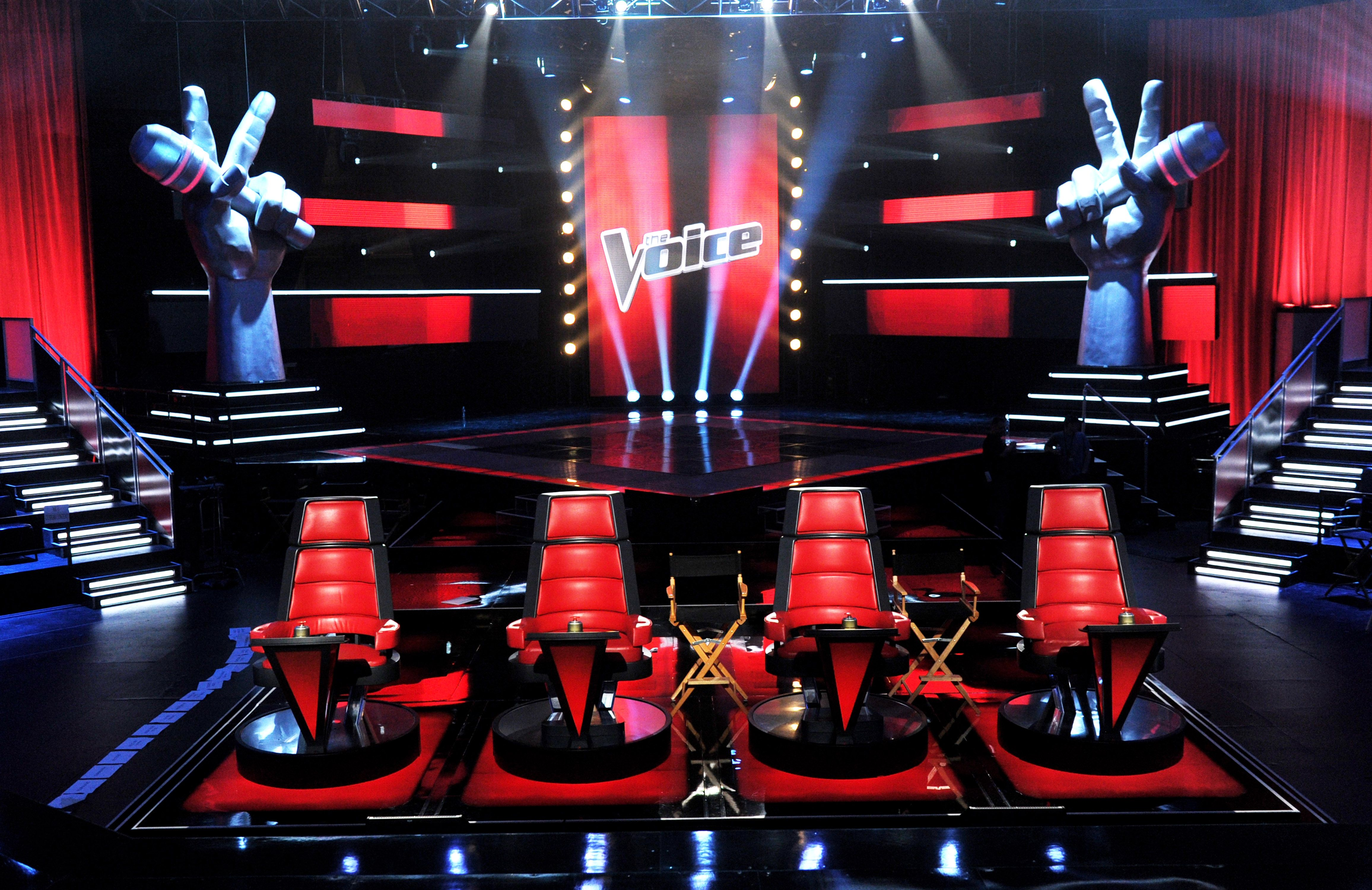 "A general view of the set for NBC's ""The Voice"" at Sony Studios on October 28, 2011 