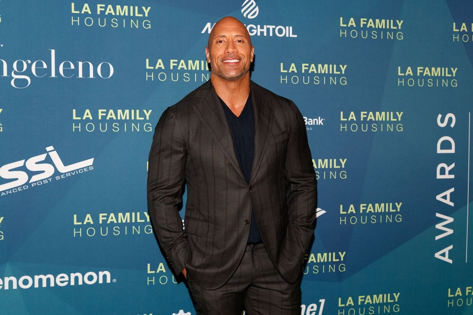 Dwayne Johnson arrives to the LAFH Awards at The Lot in West Hollywood on April 5, 2018 | Photo: Getty Images