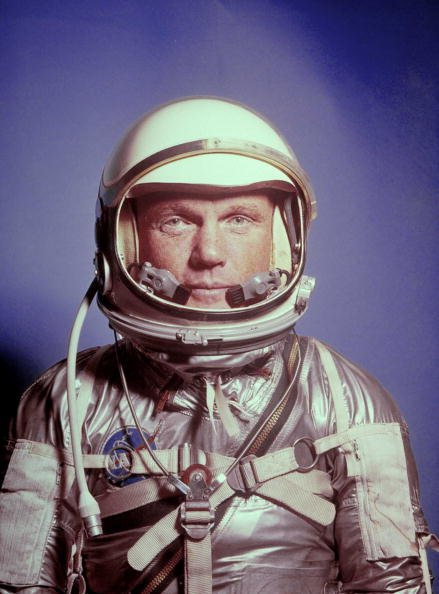 Astronaut John Glenn in a Mercury program pressure suit and helmet, undated image. | Photo: Getty Images
