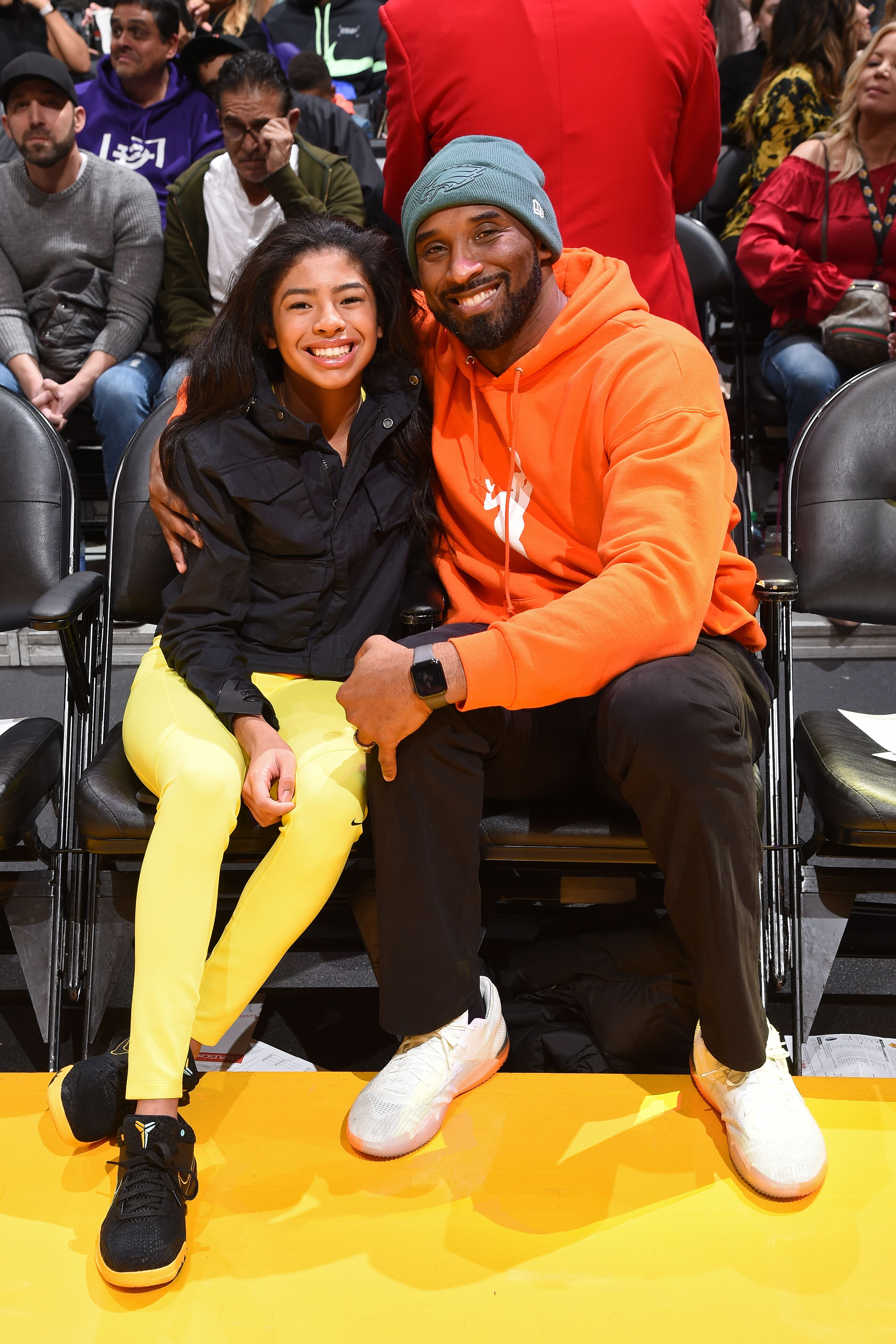 Kobe Bryant and daughter Gianna - both tragically deceased - at a WNBA basketball game | Source: Getty Images