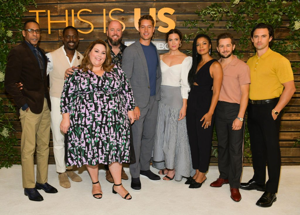 "Ron Cephas Jones, Sterling K. Brown, Chrissy Metz, Chris Sullivan, Justin Hartley, Mandy Moore, Susan Kelechi Watson, Michael Angarano, and Milo Ventimiglia attend NBC's ""This Is Us"" Pancakes with the Pearsons at 1 Hotel West Hollywood on August 10, 2019 