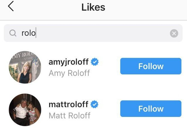 Amy and Matt liked the comment | Source: Instagram/amyjroloff