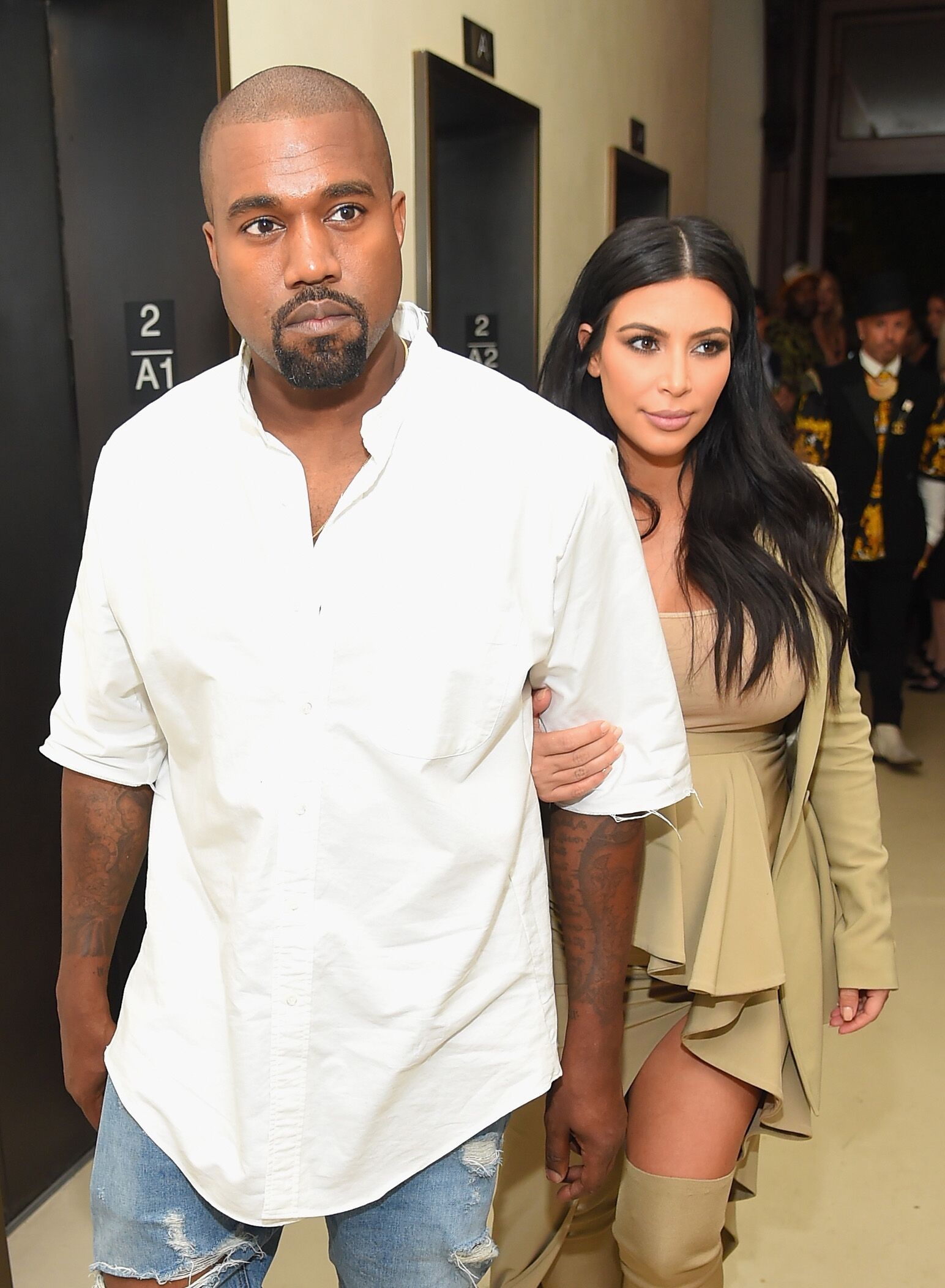 Kanye West and Kim Kardashian-West at the Rihanna Party on September 10, 2015, in New York City | Photo: Michael Loccisano/Getty Images