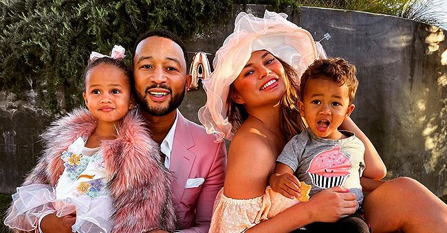 Chrissy Teigen and John Legend Enjoy Tea Party with Their Kids in Colorful Outfits