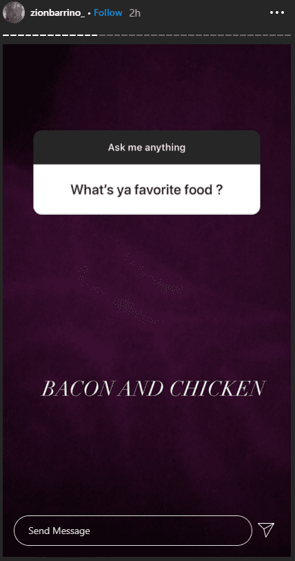 Zion Barrino shared that chicken and bacon are her favorite food. | Photo: instagram.com/zionbarrino_