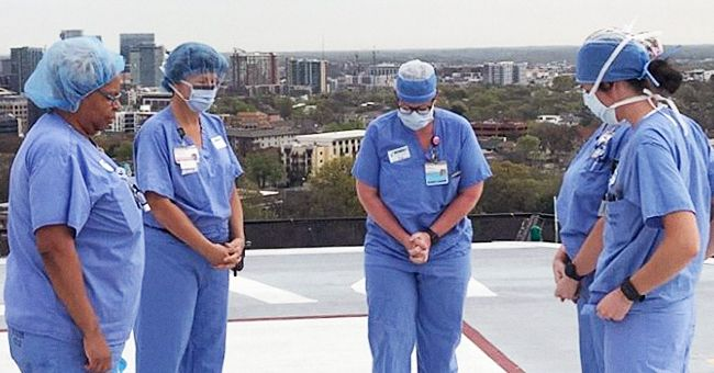 Tennessee Nurses Pray for Patients and Families on Medical Center Helipad Amid COVID-19 Crisis