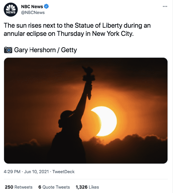 A screenshot of the statue of liberty with a quarter moon   Photo: twitter.com/NBC News