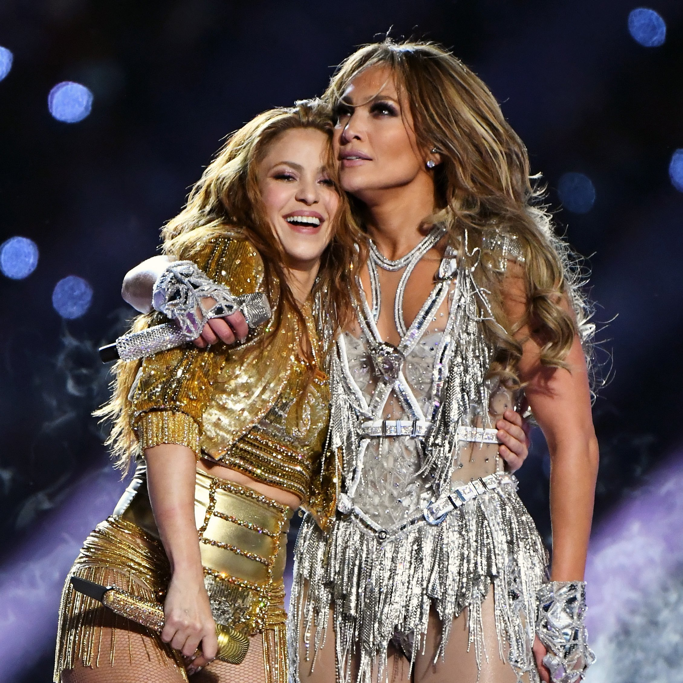 Shakira and Jennifer Lopez perform onstage during the Pepsi Super Bowl LIV Halftime Show at Hard Rock Stadium on February 02, 2020, in Miami, Florida. | Source: Getty Images.